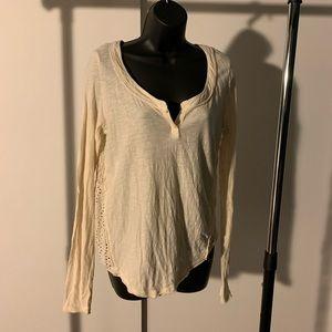 NWOT Free People cream/beige crochet long sleeve